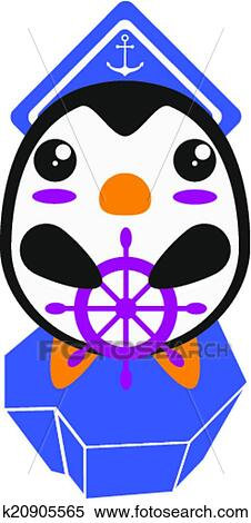 clipart of kawaii cute penguin sailor on an iceberg k20905565 rh fotosearch com cartoon iceberg clipart iceberg clipart black and white