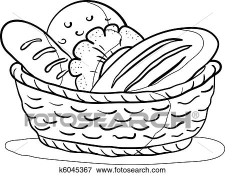 Clip Art Of Bread In A Basket Contour K6045367 Search