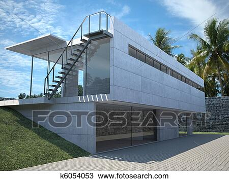 Drawing of modern house exterior k6054053 Search Clipart