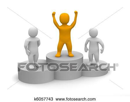 Dessin gagnant c l brer sur podium k6057743 - Dessin podium ...