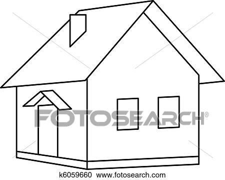 剪贴画 房子, 国家, 轮廓