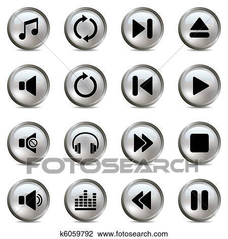 剪贴画 音乐, 银, 图标, 放置