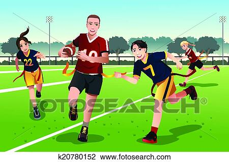 Flag football drawing