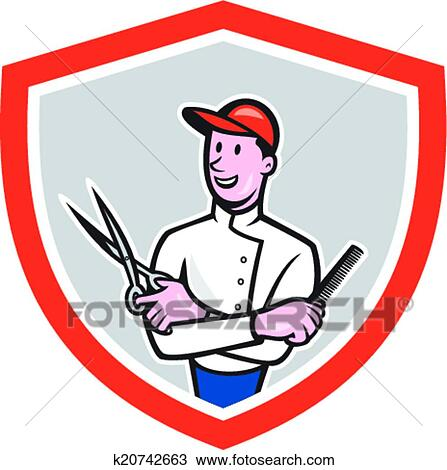 clipart of barber holding scissors comb cartoon k20742663 search rh fotosearch com clipart barber shop barber clipart black and white