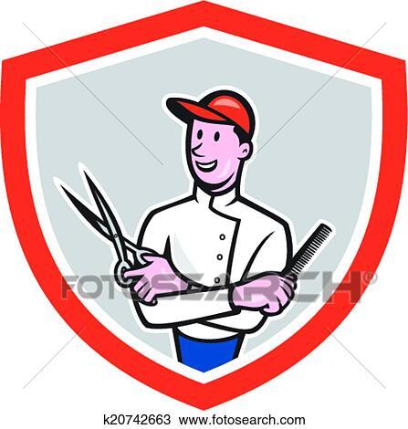 clipart of barber holding scissors comb cartoon k20742663 search rh fotosearch com barbara clip art barber clip art free