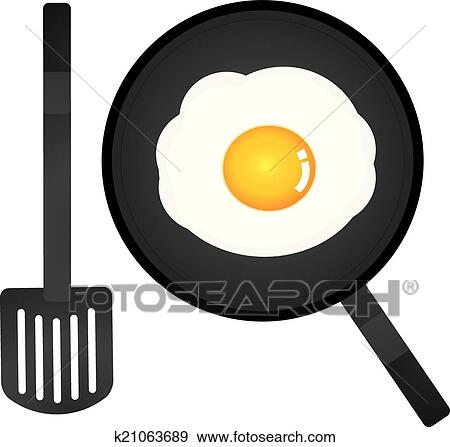 clip art of vector fried egg in a pan and spatula k21063689 search rh fotosearch com panda clipart panda clipart for kids