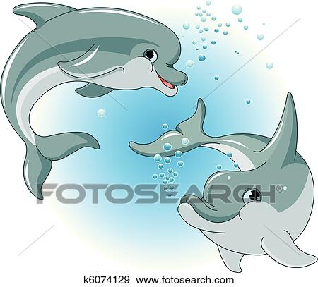Clip Art Dolphins Clipart clip art of dolphins couple k6074129 search clipart fotosearch illustration posters drawings