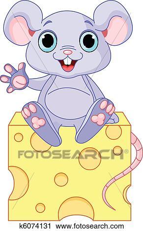 剪贴画 - 老鼠, 在上, 乳酪