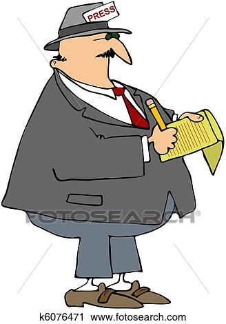 Clipart of Male Reporter k6076471 - Search Clip Art, Illustration ...