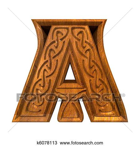 Drawing of 3d illustration of Celtic alphabet letter A k6078113 ...