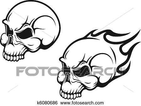 Clip Art of Skulls tattoo k6080686 - Search Clipart, Illustration ...