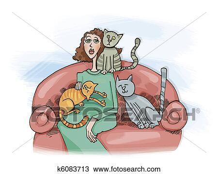 手绘图 - 妇女, 带, 猫图片