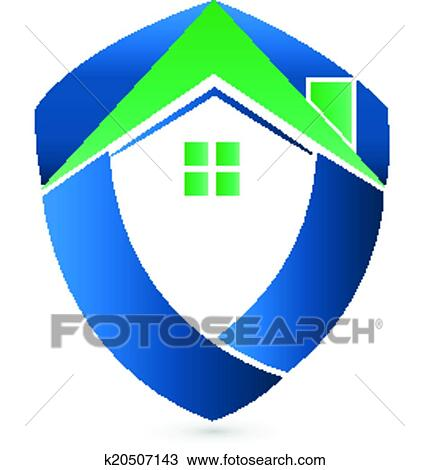 Clipart of Shield green house Real Estate logo k20507143 - Search ...