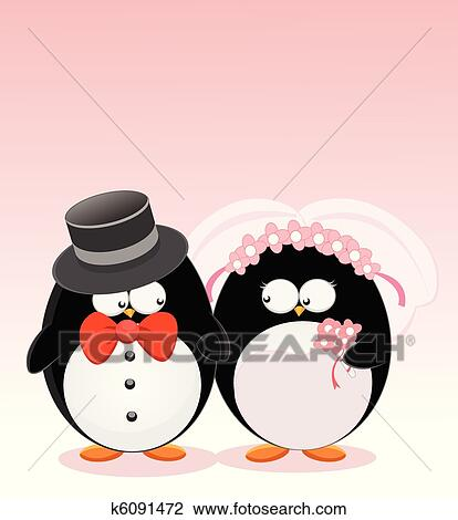 Penguin Couple Drawing Clipart Wedding Penguins