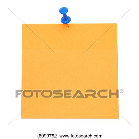Stock Photo of Blank orange post-it note k6099752 - Search ...