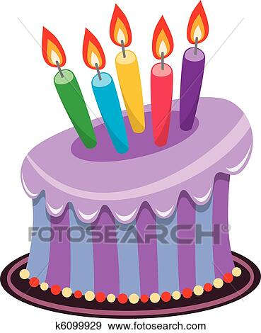 Clip Art Of Birthday Cake With Candles : Clip Art of birthday cake with burning candles k6099929 ...