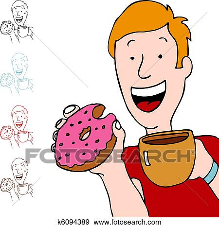Clip Art of Man Having Coffee and Donut k6094389 - Search ...