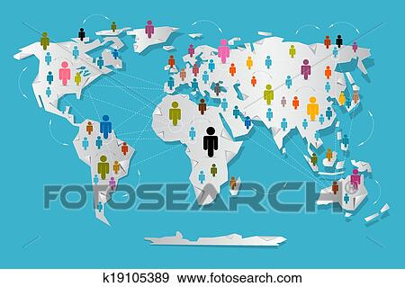 Clip art of vector people on paper world map social media clip art vector people on paper world map social media connection symbols fotosearch gumiabroncs Image collections