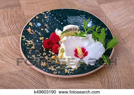 a, 蓝色, 绕行, 粘土, 盘子, 带, 白色, 冰, cream.图片