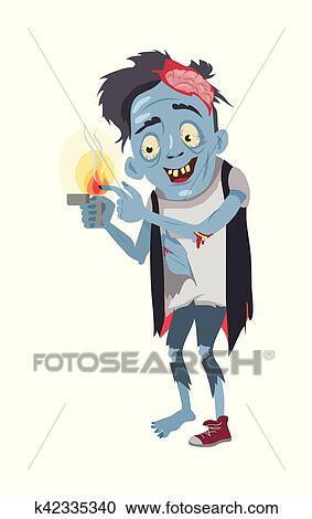 剪贴画 - zombie, isolated., 虚构, 燃烧, 他的, 手指.图片