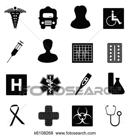 Clip Art Of Medical And Healthcare Symbols K6108268 Search Clipart