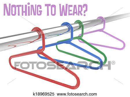 Stock Illustration Of Nothing To Wear Hangers Empty Clothes Closet