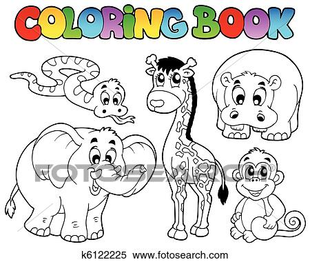 Clipart of Coloring book with African animals k6122225 - Search Clip ...