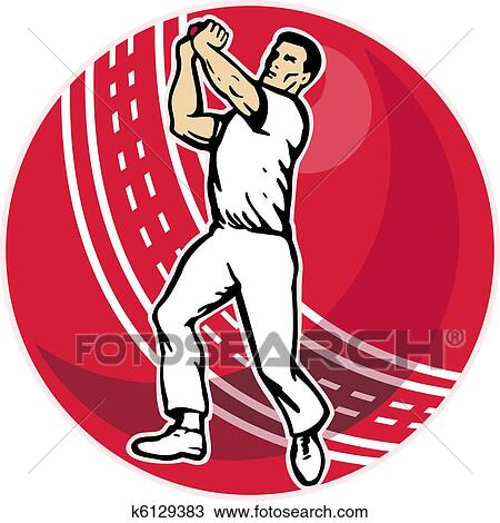 Drawing of cricket player bowler bowling k6129383 - Search ...