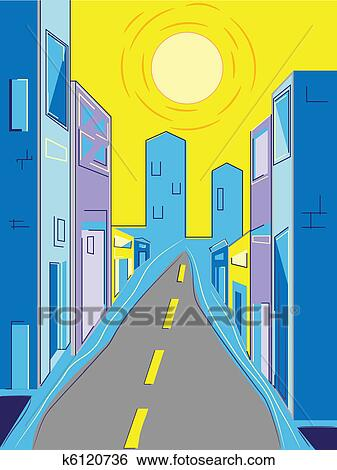 Clip Art of City Street k6120736 - Search Clipart ...