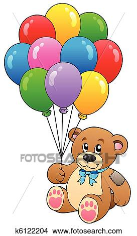how to draw a teddy bear holding balloons