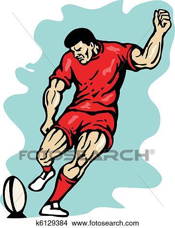 Dessins joueur rugby donner coup pied balle k6129384 recherche de clip arts d - Dessin de joueur de rugby ...