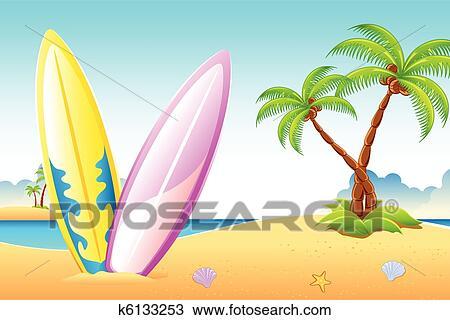 Clipart tavola da surf su mare spiaggia k6133253 - Tipi di tavole da surf ...