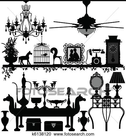 Clipart Of Antique Home Decoration Furniture