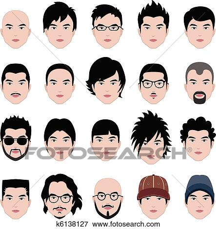 Clip Art of Man Male Face Head Hair Hairstyle k6138127 - Search ...
