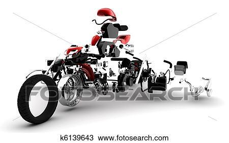 手绘图 - 红, 摩托车,