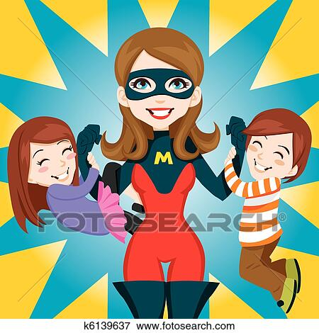 Clip art of super hero mom k6139637 search clipart illustration clip art super hero mom fotosearch search clipart illustration posters drawings voltagebd Image collections