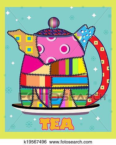 颜色, 茶壶, 站, 在上, the, 底, 盘子, 铭刻, 茶图片