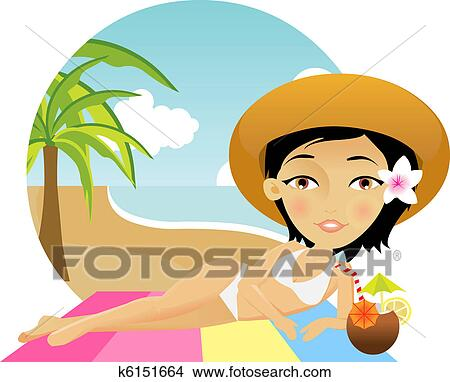 Clipart of Beautiful girl lies on a towel in the beach k6151664 ...