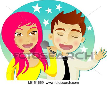 Clip Art of Man and woman singing karaoke k6151669 - Search ...