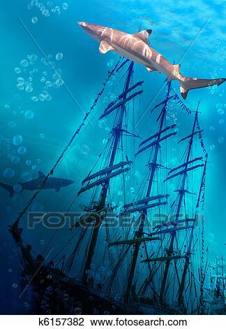 Clip Art of Sinking ship on sea bottom and sharks k6157382 ...