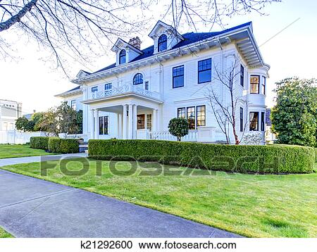 Stock photography of luxury american house with curb for Simple american house