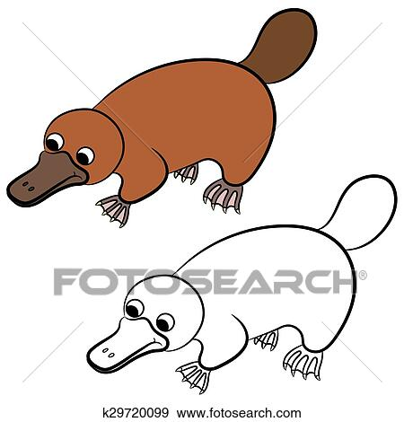 clip art of cartoon illustration of platypus k29720099 search rh fotosearch com platypus clipart cute platypus clipart
