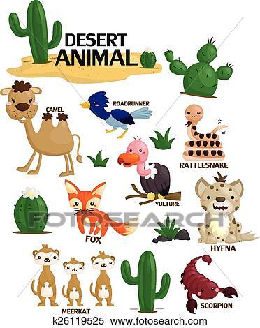 剪贴画 - 沙漠动物, 矢量