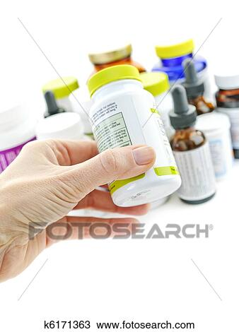 影像 - 手 藏品, 藥瓶子. Fotosearch ...