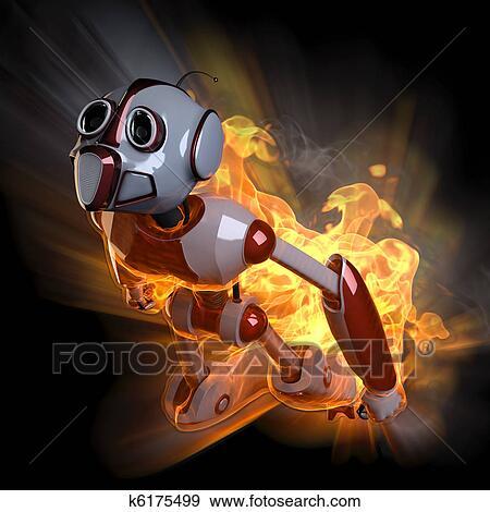 失量图库 - 机器人. fotosearch - 搜寻手绘图画,插图及图像