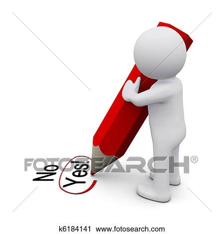 clipart of 3d man writing yes k6184141 search clip art rh fotosearch com Pen Writing Clip Art People Writing Clip Art