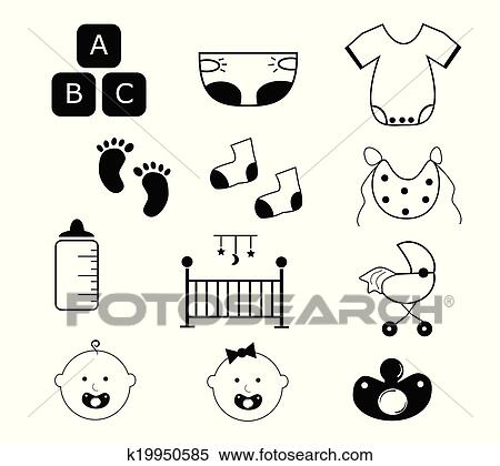 clipart of baby items k19950585 search clip art illustration rh fotosearch com baby items clip art printable free baby items clip art printable free