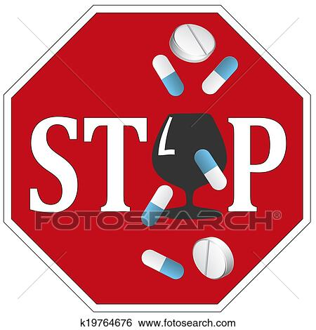 Stock Illustration of Stop Alcohol with Drugs k19764676 ...