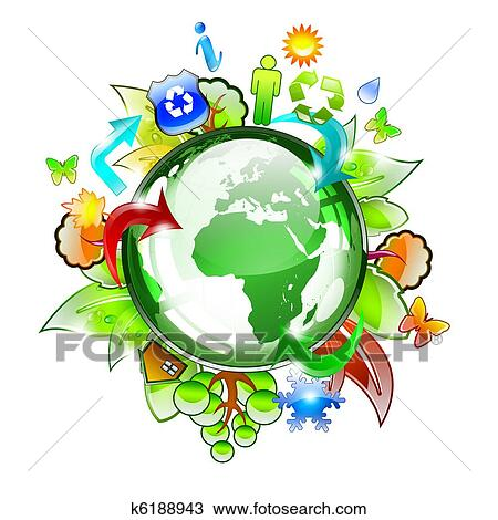 Drawing of planet earth with plants and trees k6188943 - Search ...