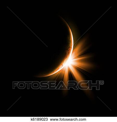 Drawing Of Image Of A Solar Eclipse K6189023 Search